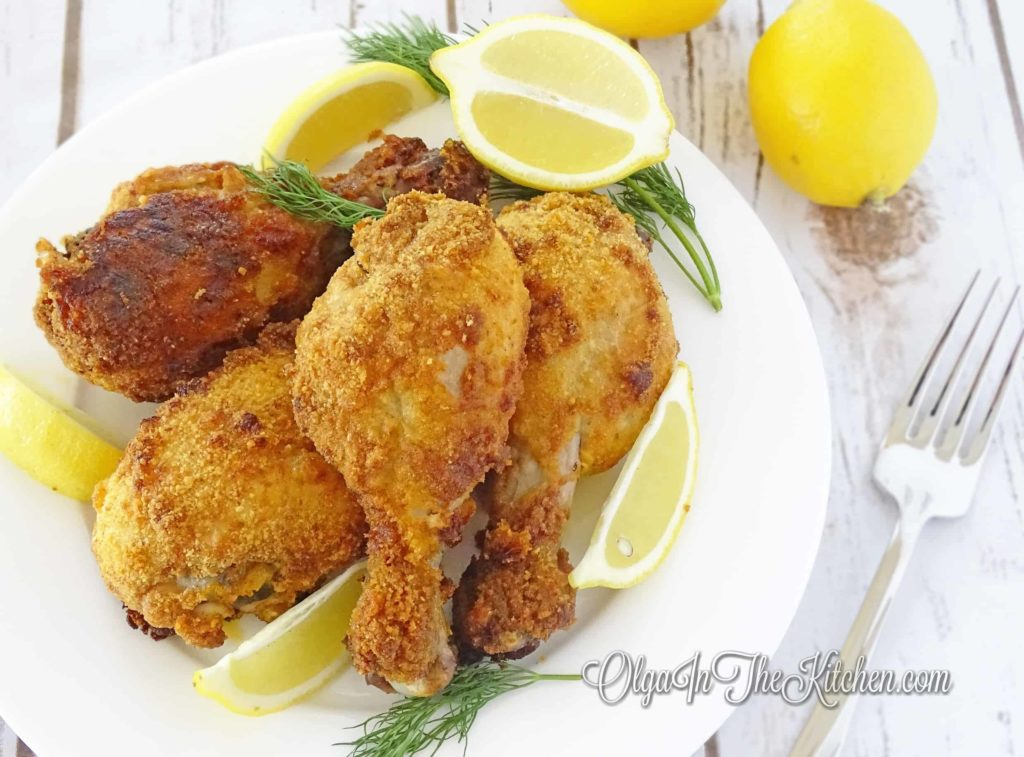 Breaded Baked Chicken Drumsticks: so crunchy on the outside, soft and tender on the inside, beautiful bright color from paprika and a bit of tang from the garlic. It's a party must! | olgainthekitchen.com