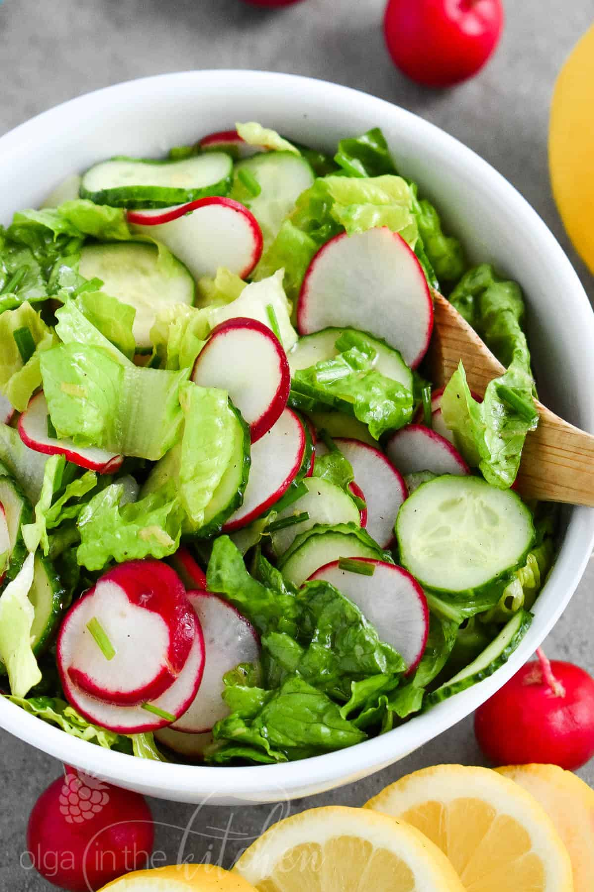 Easy Lettuce Radish Salad with Lemon Vinaigrette is as simple as it gets! It has a crisp and crunchy texture and is lemony good. It's so fresh, versatile, quick and easy to make and can make a wonderful meal, combined with an entree of your choice. #healthy #olgainthekitchen #vinaigrette #saladrecipe #salad #lowcarb #summer