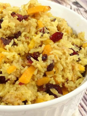Pork Plov (Pork Rice Pilaf with Cranberries): rich in taste, marvelous dish to serve at any event. Our family version of pilaf. | olgainthekitchen.com