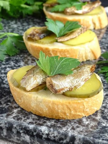 Sprats and Pickles Tea Sandwiches (Canapes): combo of tangy pickles and sprats on a slice of bread to complete any gathering. | olgainthekitchen.com