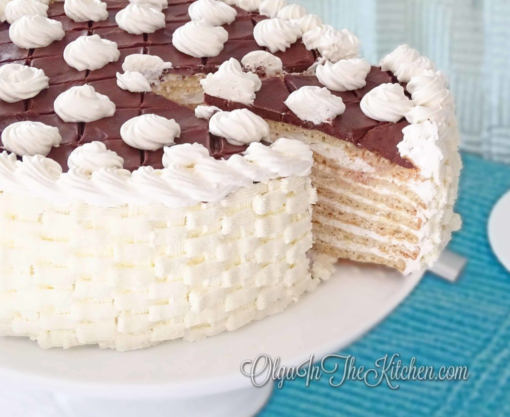 Ammonia White Cake with Sour Cream Frosting: dry cake layers creamed with sour cream frosting, topped with chocolate ganache. | olgainthekitchen.com