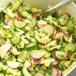 Cucumber Radish Salad is fresh, creamy and crunchy. The combo of fresh cucumbers, radishes and boiled eggs not only bring a crunchy texture, but also a beautiful vibrant color to this salad. | olgainthekitchen.com