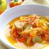 Pickled Autumn Salad (осінній салат): combo of fresh vegetables & fruits, marinated with sweet, salty and sour dressing.   olgainthekitchen.com