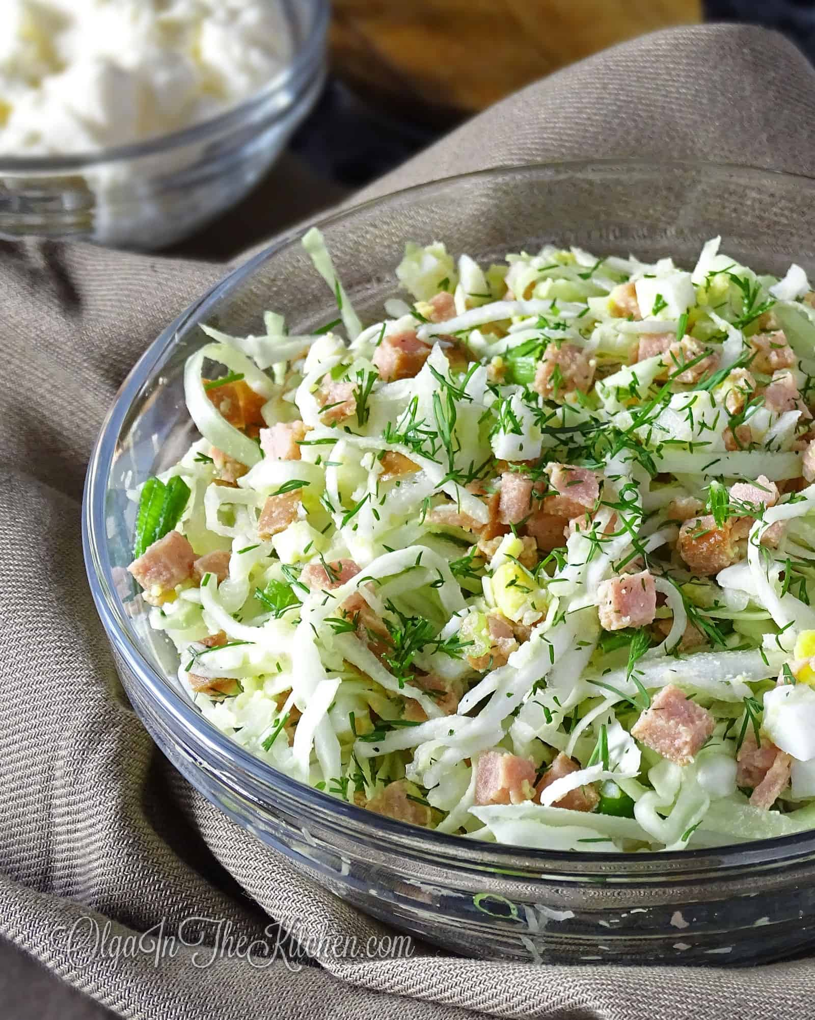 Cabbage Egg Salad: rich salad combo of green cabbage, sausage, eggs and greens dressed into mayo. | olgainthekitchen.com