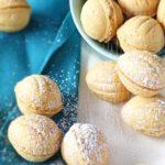 Crispy Walnut Shaped Cookies with Dulce de Leche Filling (oreshki): crispy, golden on the outside, creamy on the inside. | olgainthekitchen.com
