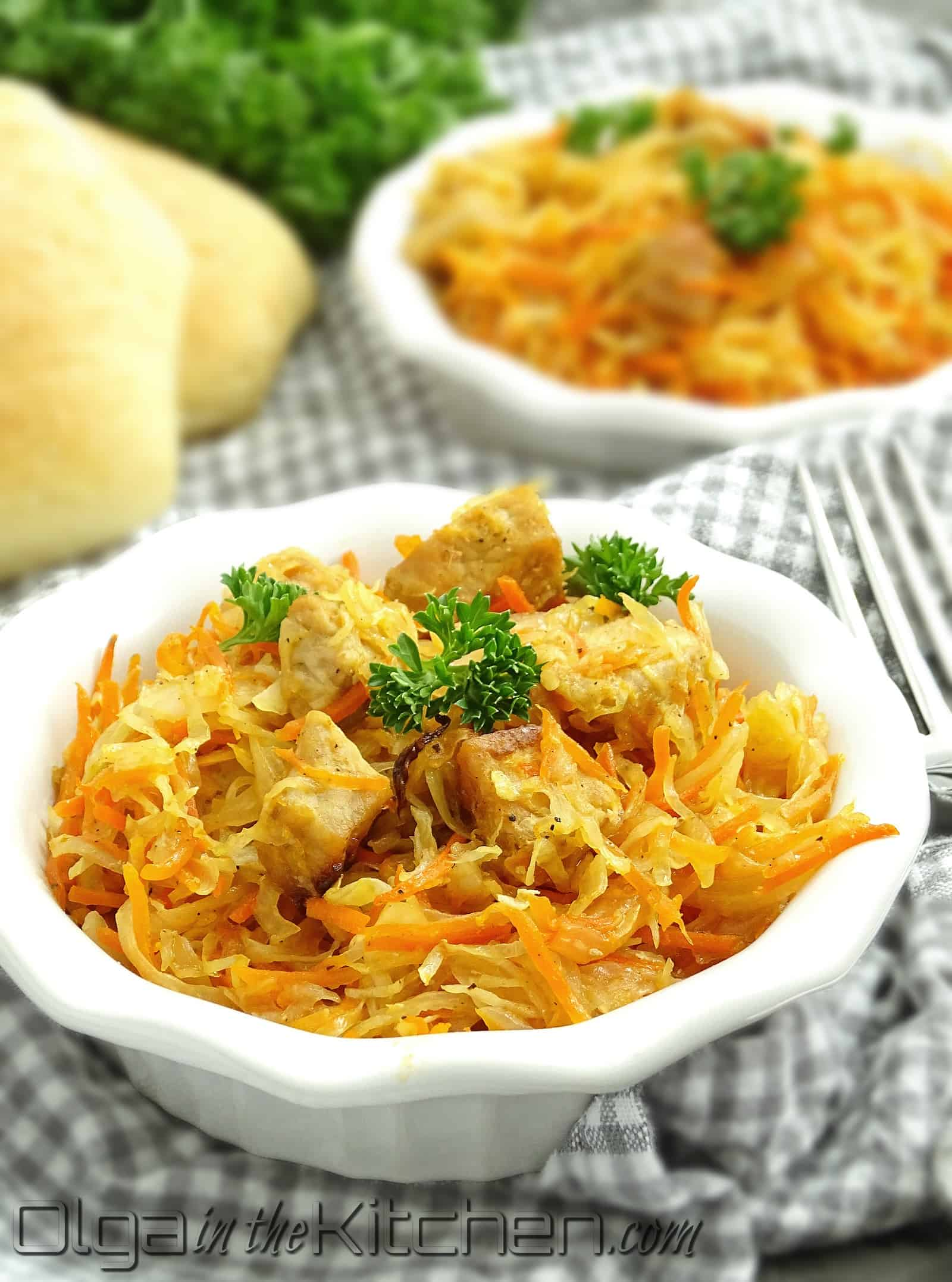 Ukrainian Oven Roasted Cabbage with pork: simple, comfortable, classic, yet juicy, sweet and sour. | olgainthekitchen.com