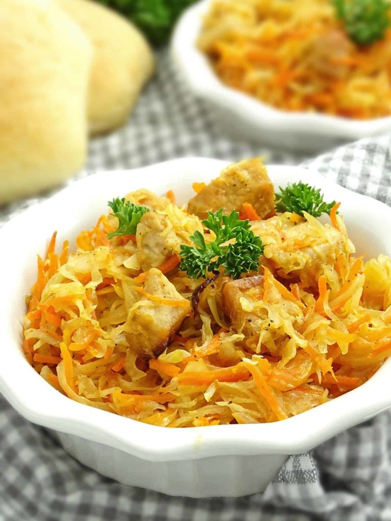 Ukrainian Oven Roasted Cabbage with pork: simple, comfortable, classic, yet juicy, sweet and sour meal. | olgainthekitchen.com