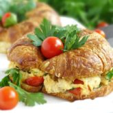 Croissant Chicken Salad Sandwich: full of flavor, so cheesy, so scrumptious, quick and easy.   olgainthekitchen.com