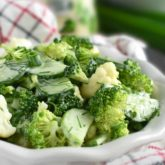 Broccoli Cauliflower Cucumber Salad: combo of green veggies bring out the delicious crunch dressed with favorite ranch dressing. | olgainthekitchen.com