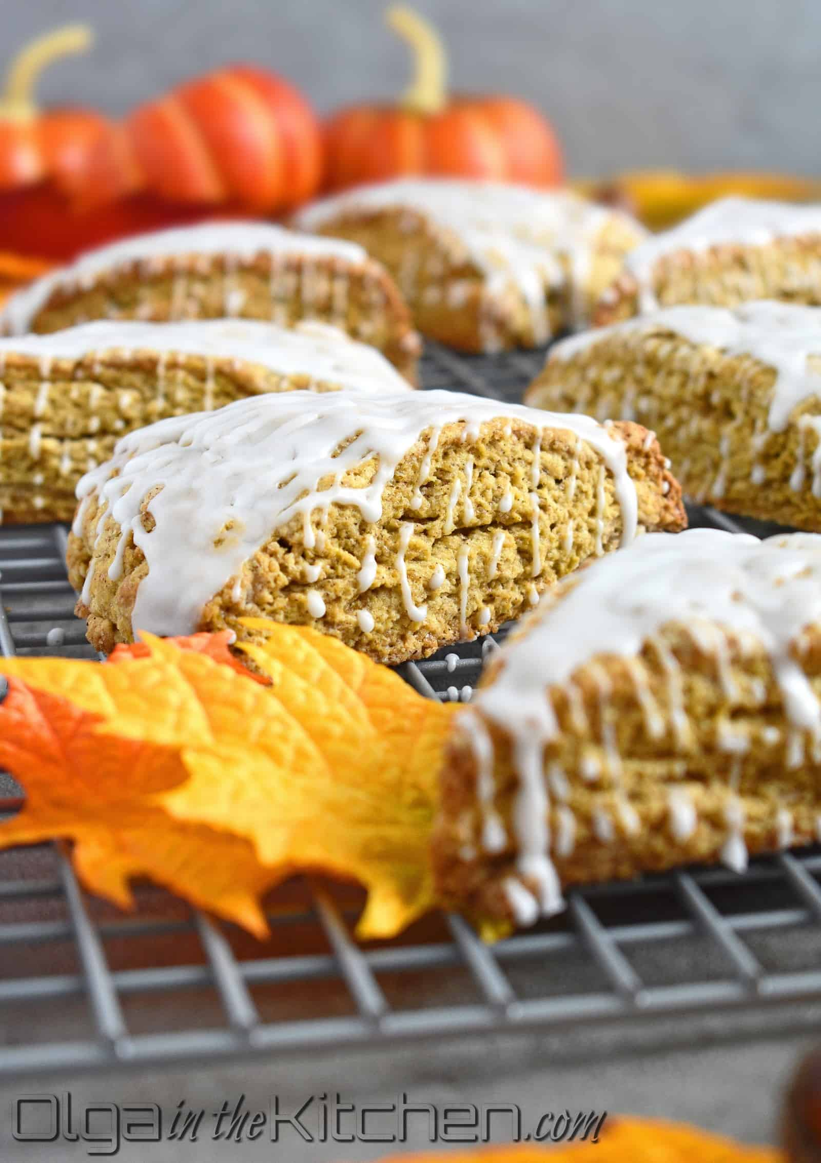 Pumpkin Scones: super flaky and perfectly spiced; these scones are your new favorite fall treat in under 30 minutes. | olgainthekitchen.com