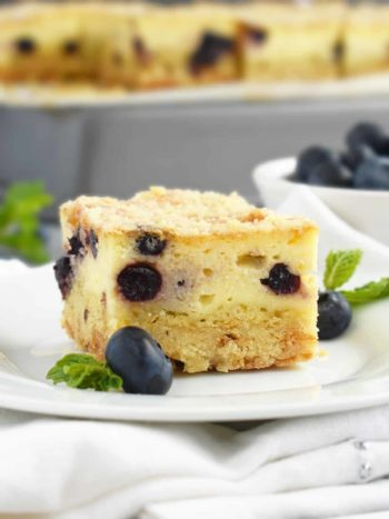 Farmer's Cheese Blueberry Crumb Cake: slightly sweet, creamy and buttery with a little blueberry hint; Ukrainian kind of cheesecake! | olgainthekitchen.com