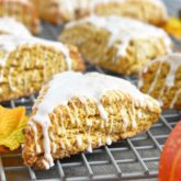 Pumpkin Scones: crumbly, crispy, moist on the inside and topped with delicious icing for the extra sweetness. | olgainthekitchen.com