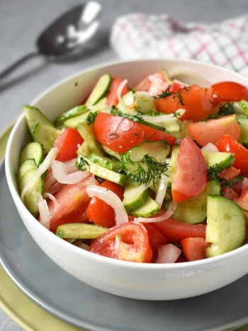 Tomato and Cucumber Salad: the easiest and the simplest 3-veggie plus a dressing salad that will wow the crowd. | olgainthekitchen.com
