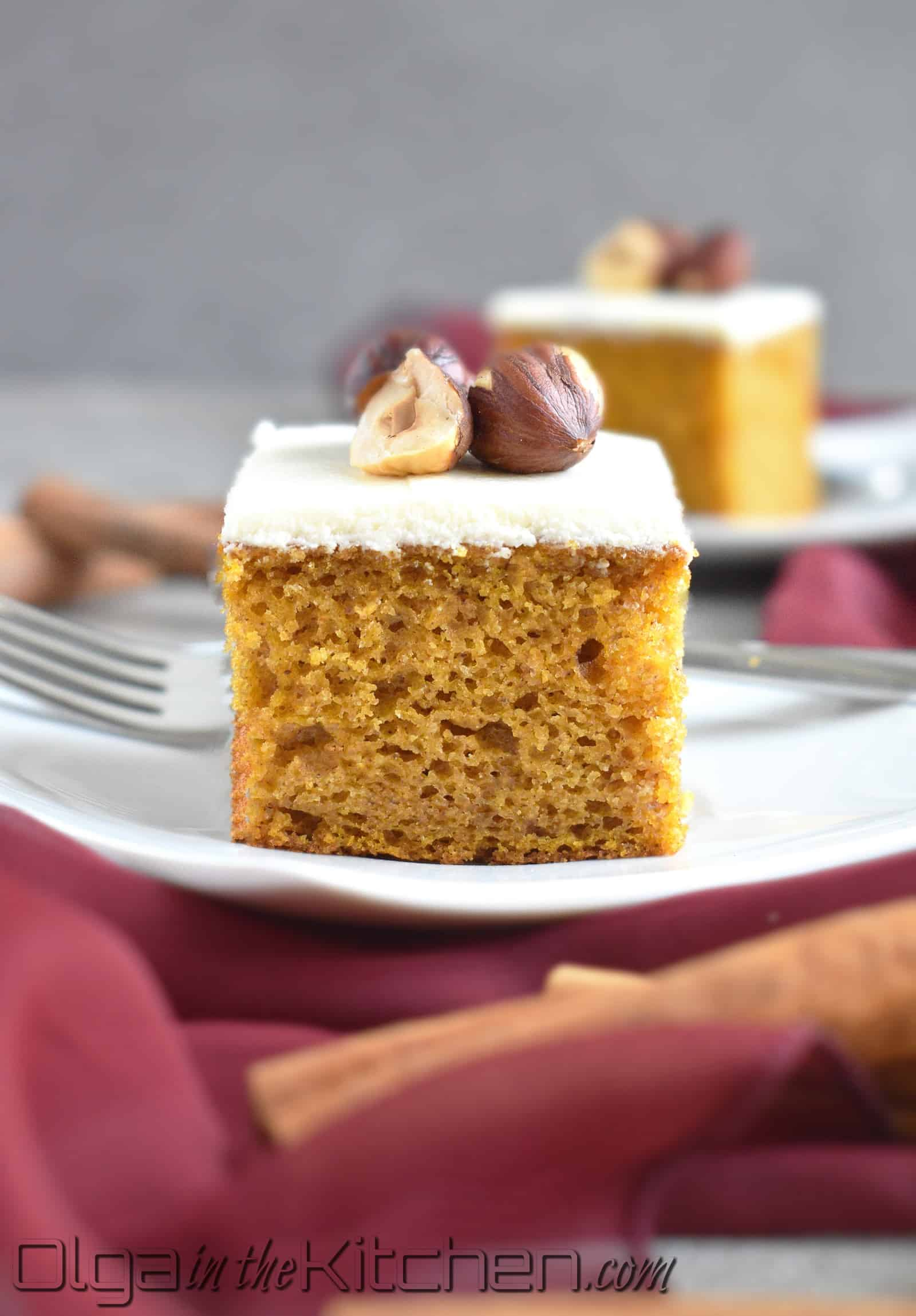 Pumpkin Sheet Cake: simple, fluffy, moist and topped with sweet cream cheese frosting. | olgainthekitchen.com