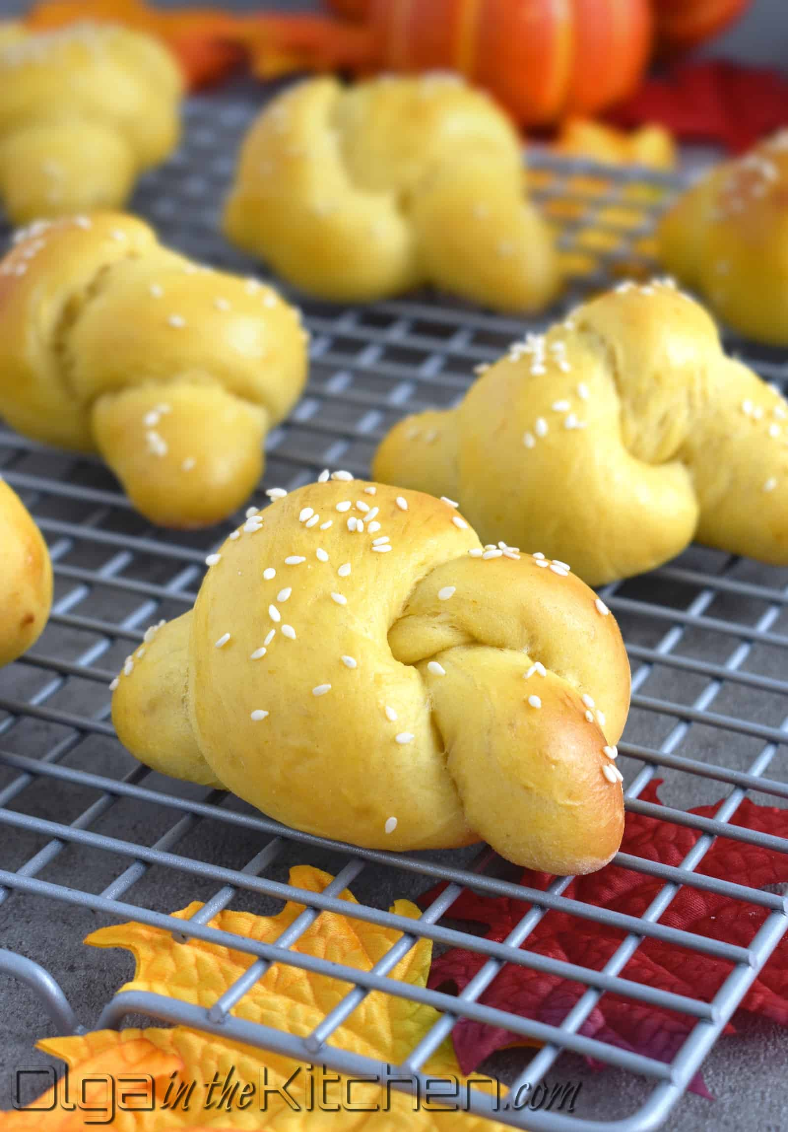 Pumpkin Knots: slightly sweet, moist and light texture, golden in color with a mild pumpkin flavor. These knots will complete any breakfast or afternoon tea.   olgainthekitchen.com