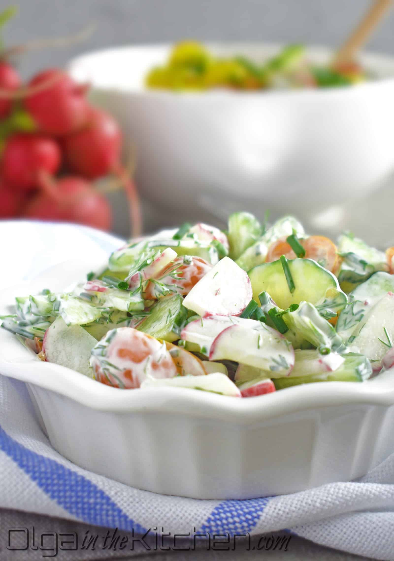 Tomato Cucumber Radish Salad: quick and easy, flavorful, so refreshing, so creamy and full of vitamins. | olgainthekitchen.com