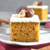 Pumpkin Sheet Cake: easy to make, fluffy, moist; topped with delicious sweet cream cheese frosting. | olgainthekitchen.com