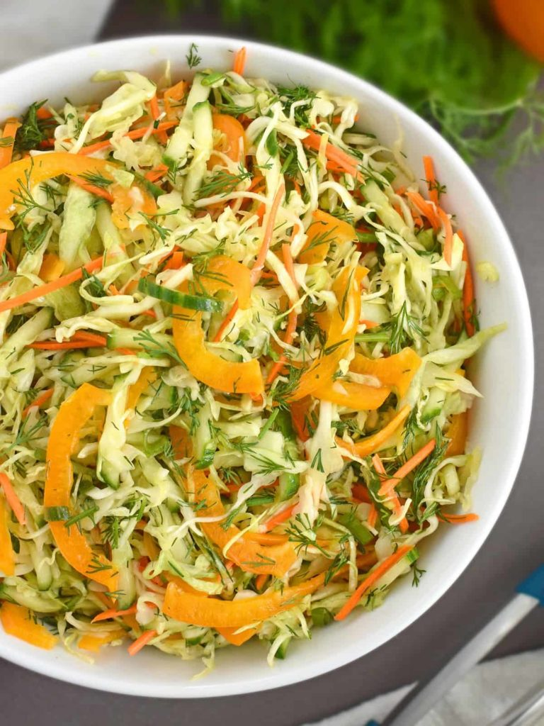 Cabbage Carrot Pepper Salad: easy to make, common ingredients, flavorful and full of vitamins. | olgainthekitchen.com