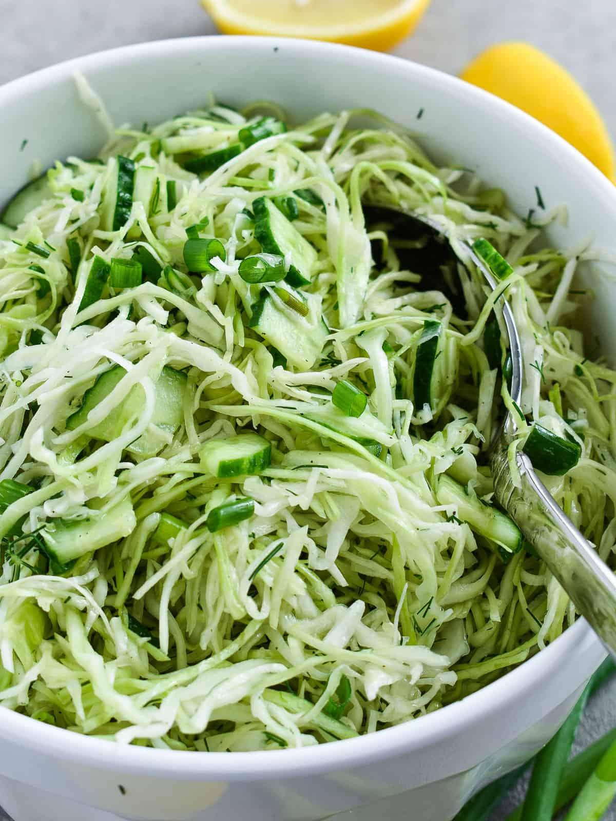 Green Cabbage Cucumber Salad Olga In The Kitchen