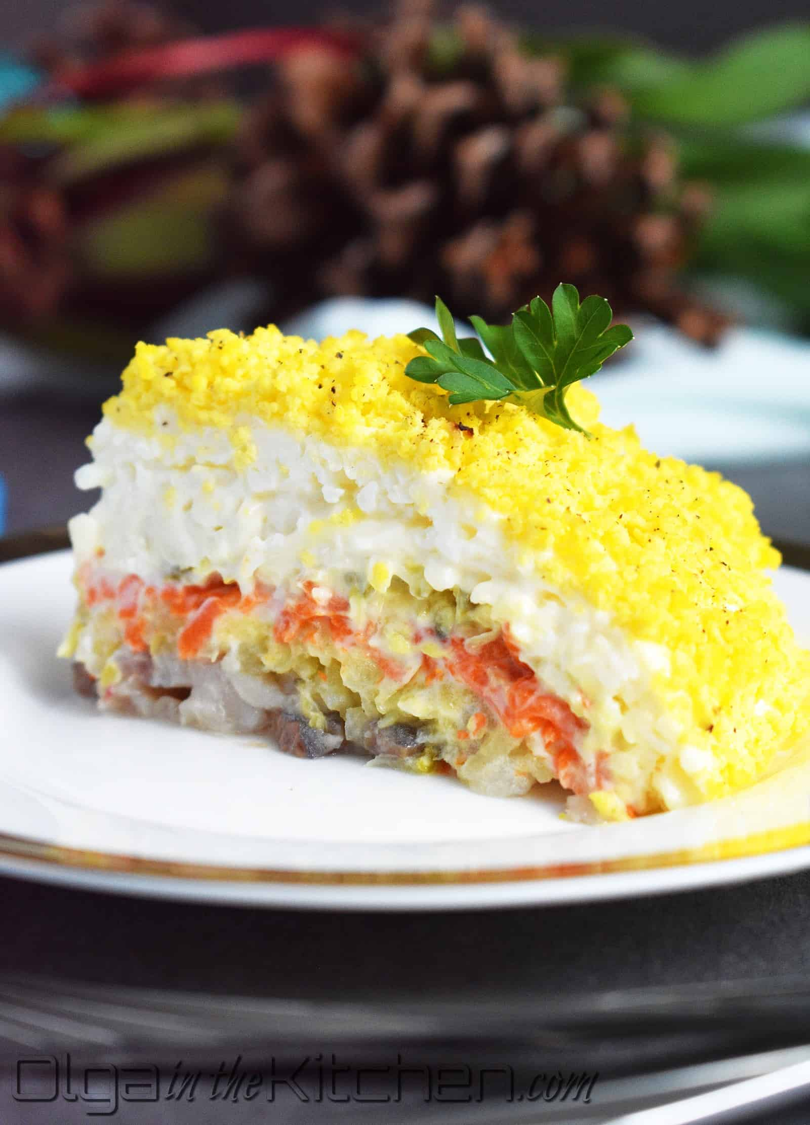 Mimosa Salad (Layered Egg and Cheese Salad): elegant, festive, appealing to an eye and delicious in taste! | olgainthekitchen.com