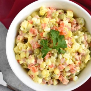 Olivye Salad: classic Ukrainian potato salad; rich in flavor, creamy and tender ingredients! | olgainthekitchen.com