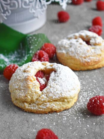 Raspberry Scones: soft on the inside, buttery and flaky with a delicious raspberry twist; so perfect in every way. #scones #raspberryscones #breakfast #pastry #olgainthekitchen