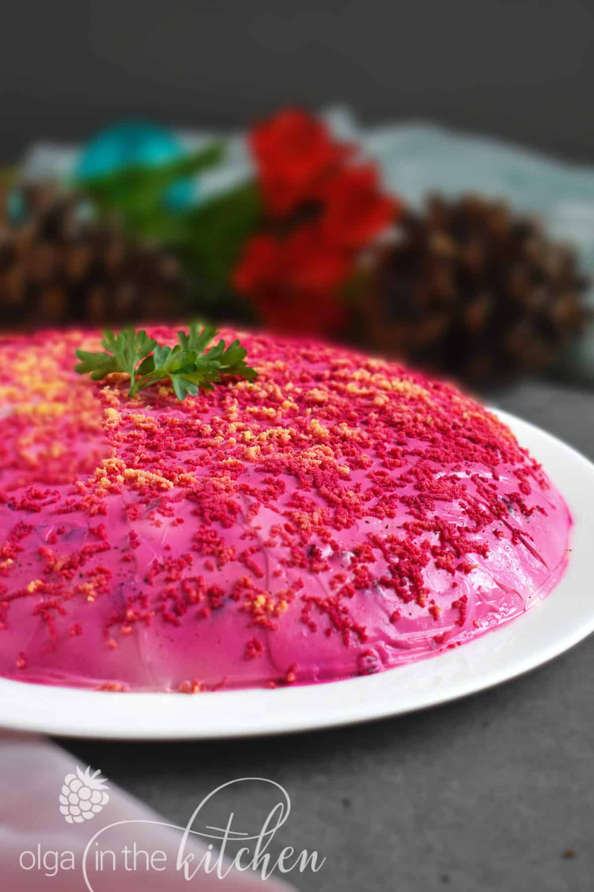 Shuba Salad (Layered Beet Salad with Herring): an easy and festive dish created from root vegetables; very popular among Ukrainian families. | olgainthekitchen.com