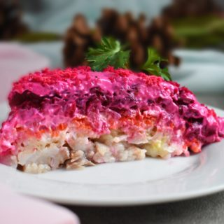 Shuba Salad (Layered Beet Salad with Herring):  is an easy and festive dish created from root vegetables and very popular among Ukrainian families. | olgainthekitchen.com