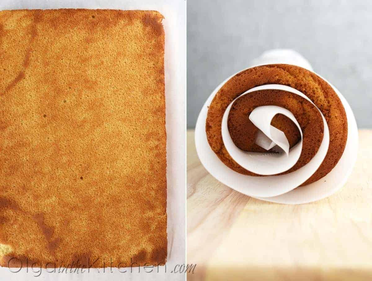 making honey cake roll
