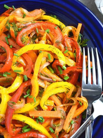 Oven Roasted Pepper Salad Recipe: refreshing, sweet, colorful and so easy to make. It takes about 20 minutes to make and few hours to marinate. | olgainthekitchen.com