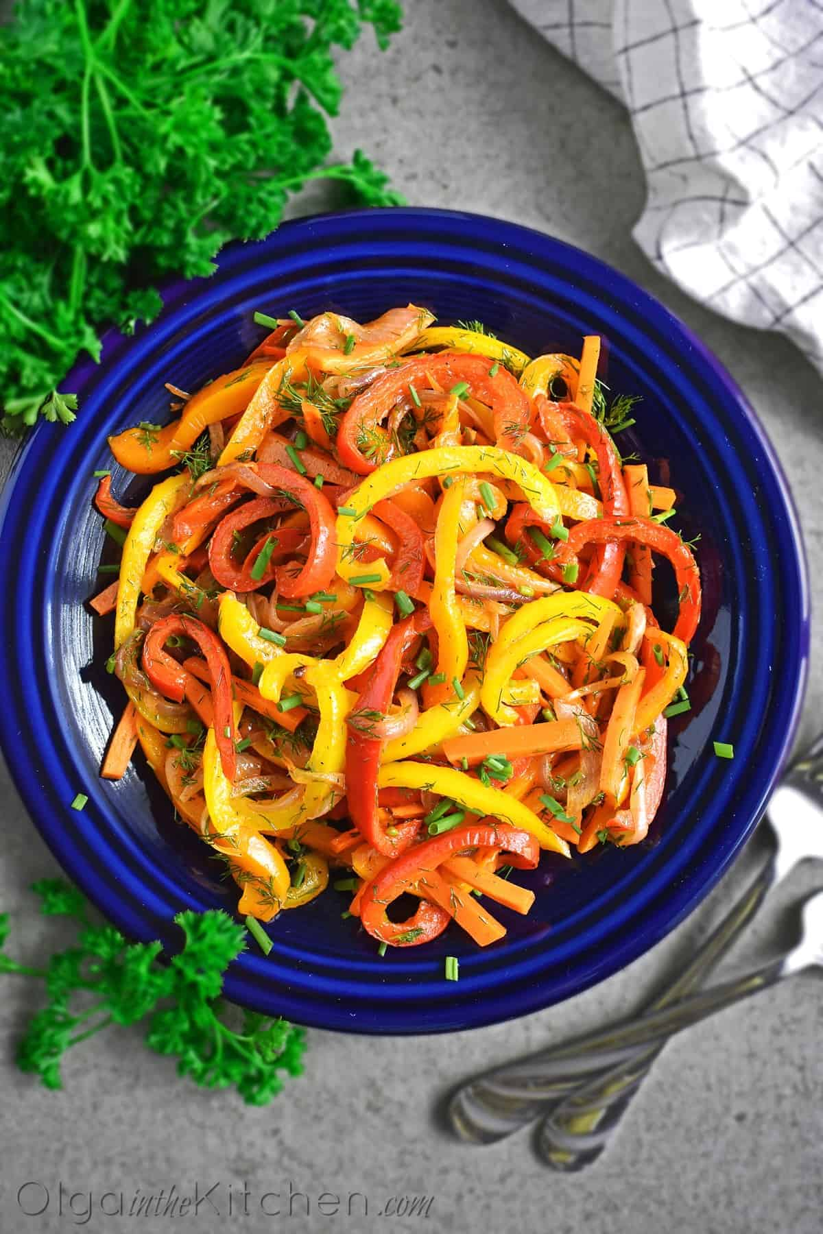 oven roasted pepper salad
