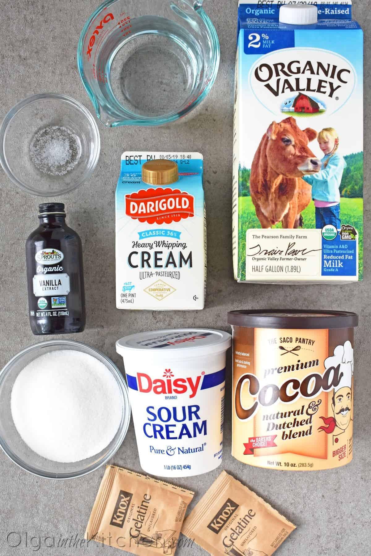 Panna Cotta Chocolate Jello Ingredients