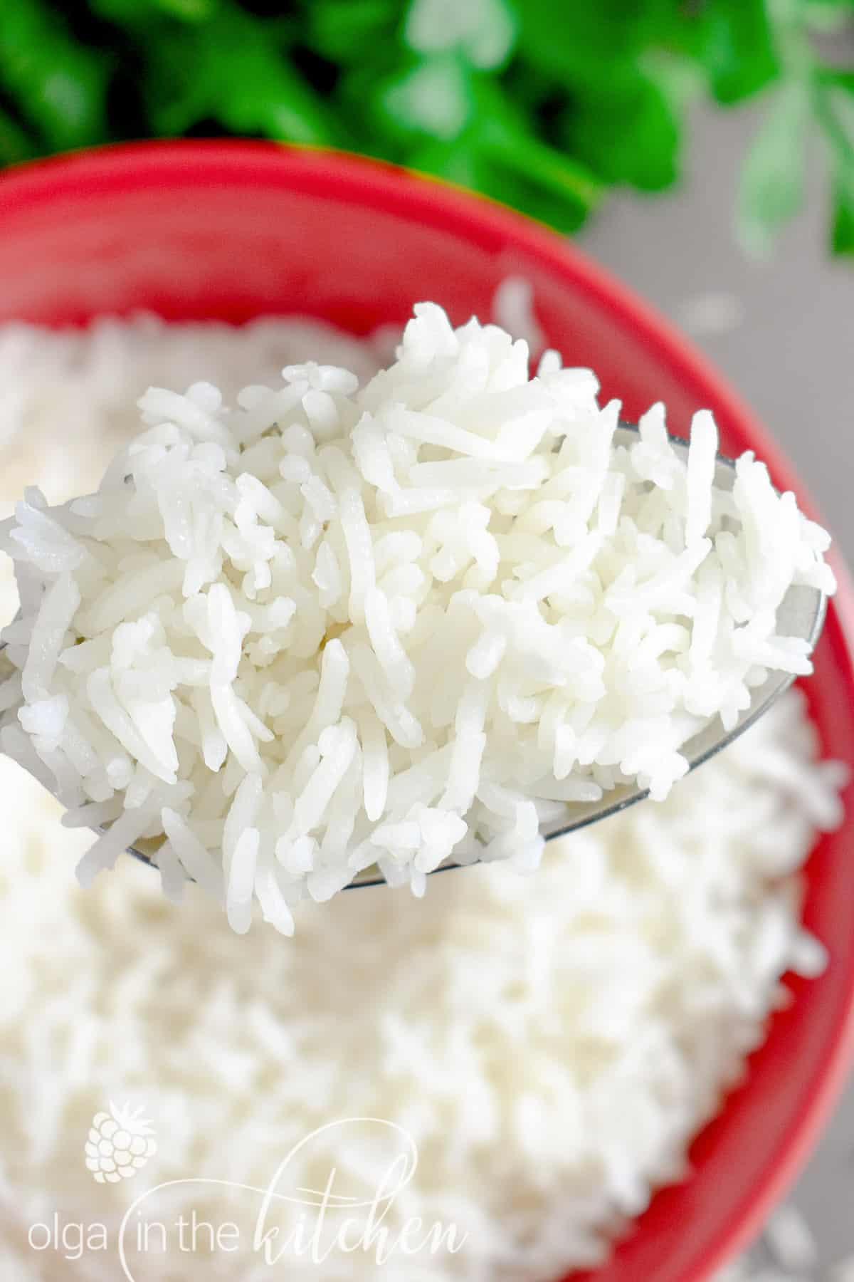 A simple but reliable stove-top method of How to Cook White Rice to achieve perfectly tender and fluffy texture every time. | olgainthekitchen.com