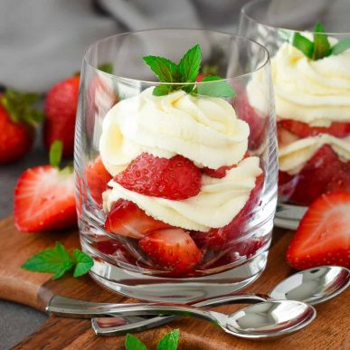 Strawberries and Cream Dessert: sugared fresh strawberries and a vanilla-flavored sweetened whipped cream make up this easy and delicious no-bake dessert the perfect treat for summer days. The perfect dessert for summer parties! olgainthekitchen.com