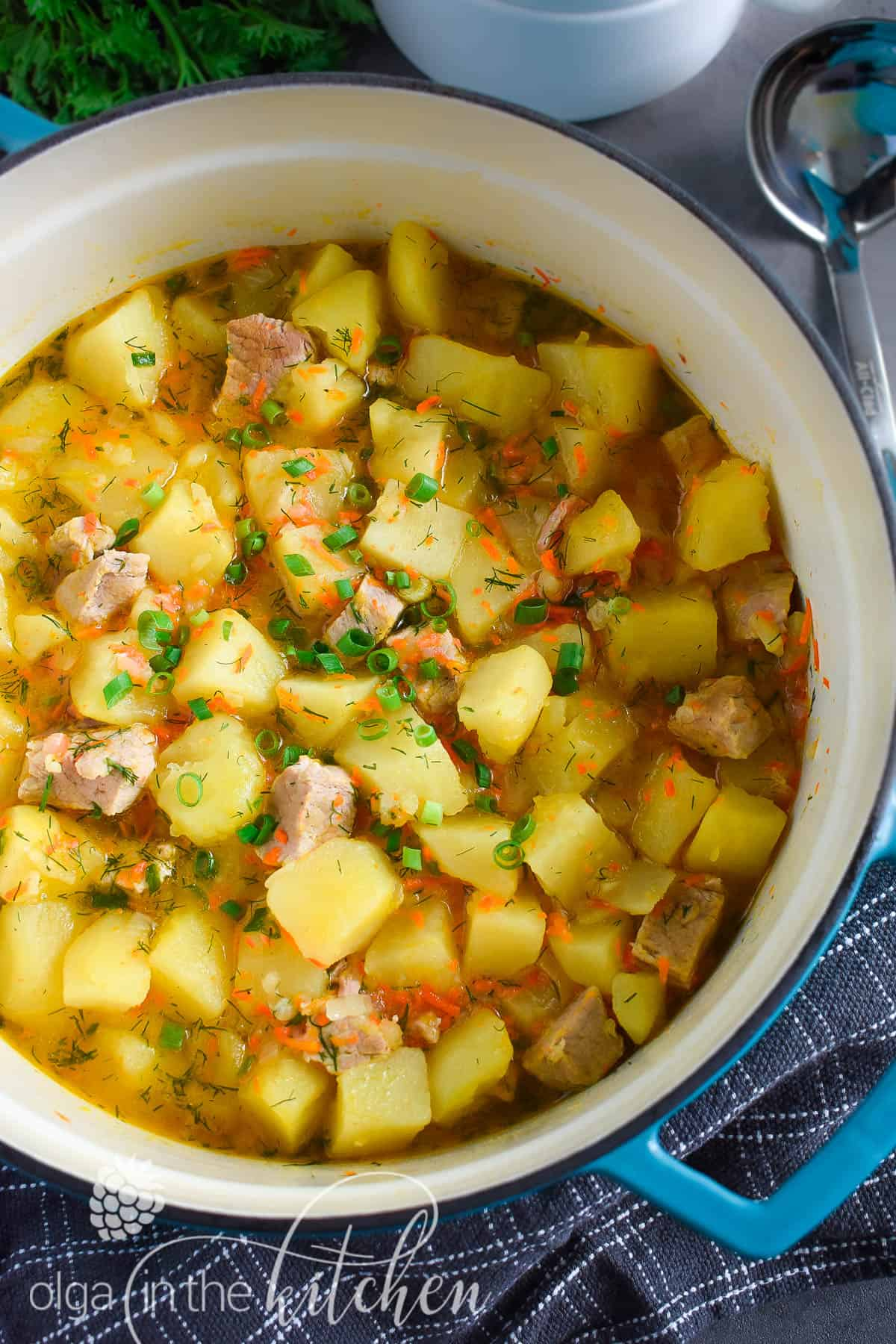 Braised Potatoes with Pork: chunks of potatoes and tender-juicy meat coated in sauce that is created from carrots, onions and potato starch.| olgainthekitchen.com #olgainthekitchen #braisedpotatoes #potatoes #dinner #maincourse #pork #onepot #holiday