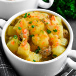Braised Potatoes with Pork: chunks of potatoes and tender-juicy meat coated in sauce that is created from carrots, onions and potato starch.| olgainthekitchen.com
