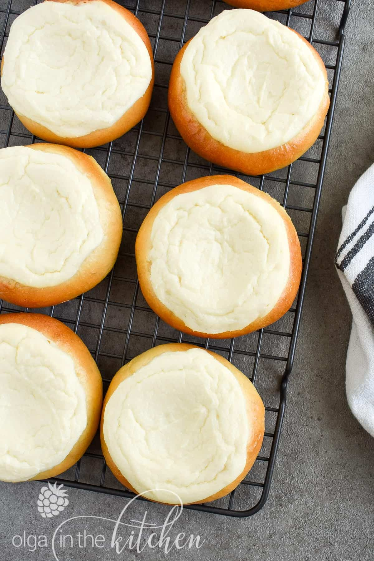 Sweet Cheese Filled Buns (Vatrushka Recipe): freezer-friendly, soft and fluffy sweet buns filled with smooth farmer's cheese filling. | olgainthekitchen.com #vatrushka #sweetbuns #farmerscheese #olgainthekitchen #bread #ukrainianrecipe #cheesebuns