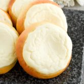Sweet Cheese Filled Buns (Vatrushka Recipe): freezer-friendly, soft and fluffy sweet buns filled with smooth farmer's cheese filling.   olgainthekitchen.com