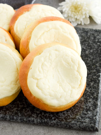 Sweet Cheese Filled Buns (Vatrushka Recipe): freezer-friendly, soft and fluffy sweet buns filled with smooth farmer's cheese filling. | olgainthekitchen.com