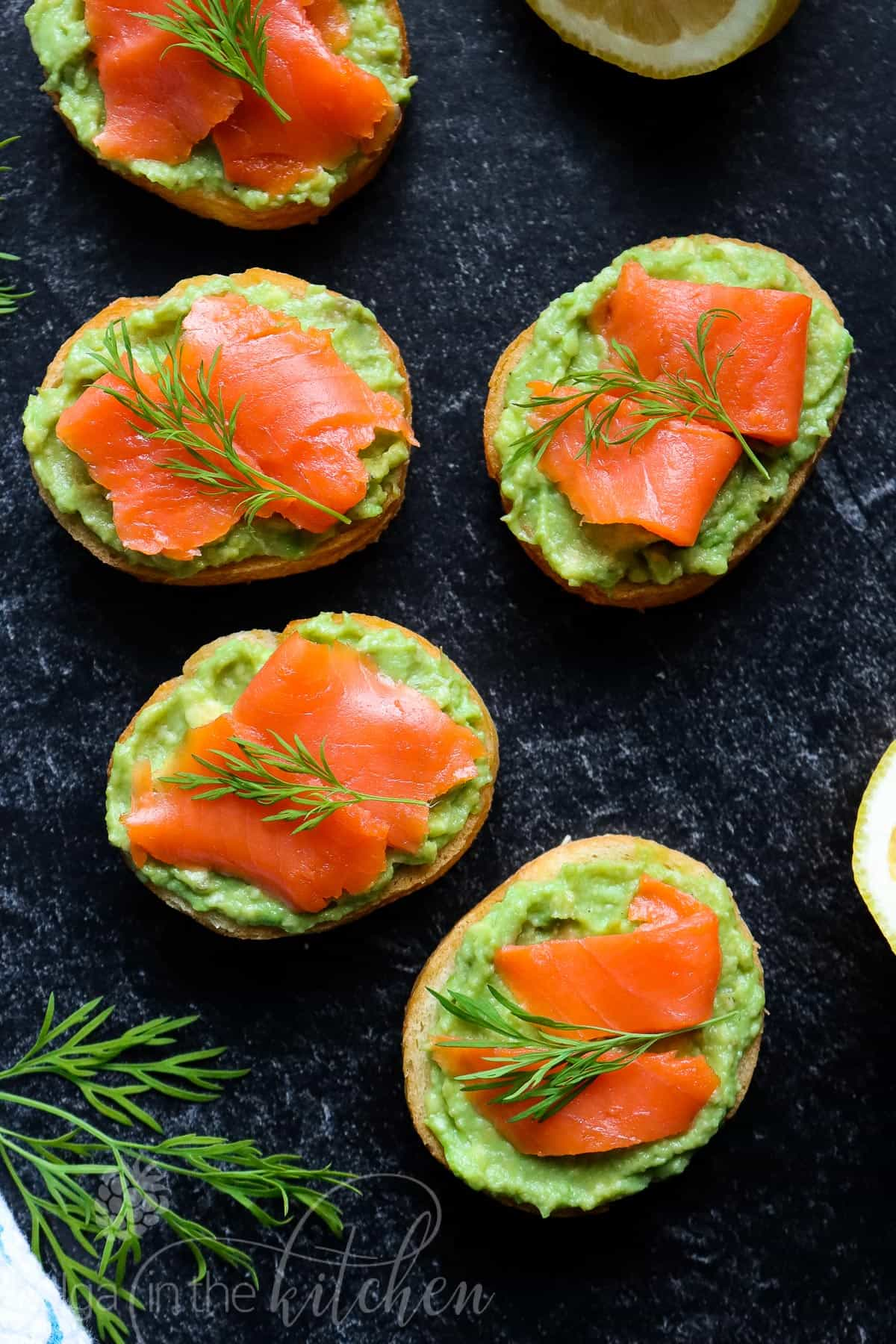 These Salmon Avocado Sandwiches are super easy, healthy and the perfect appetizer to serve at your next party or enjoy as a delicious breakfast alternative. #appetizer #sandwich #olgainthekitchen #canapes #avocado #salmon #healthy #breakfast