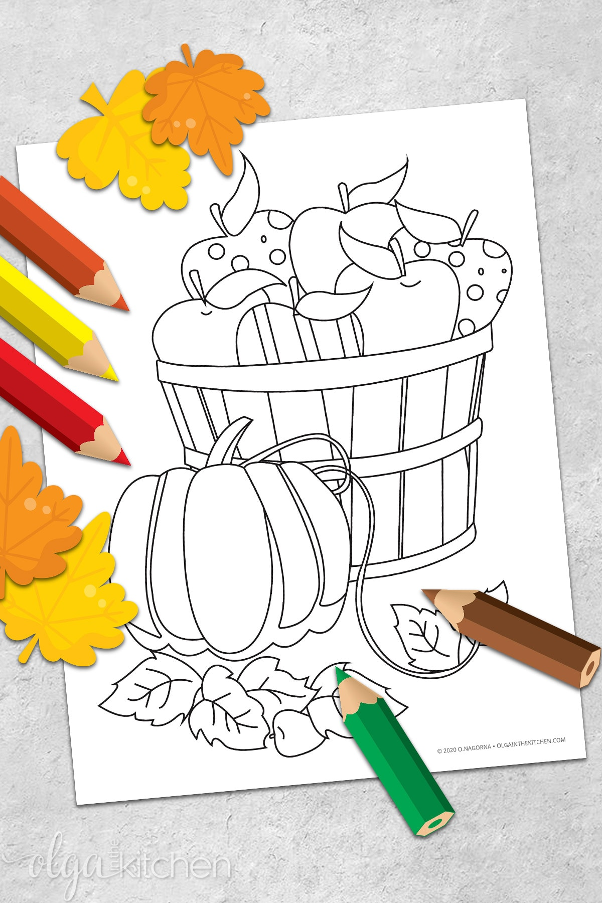 A basket of fruits and pumpkin coloring page for Thanksgiving holiday. #thanksgiving #printables #freebies #olgainthekitchen #homeschool #worksheets #kids