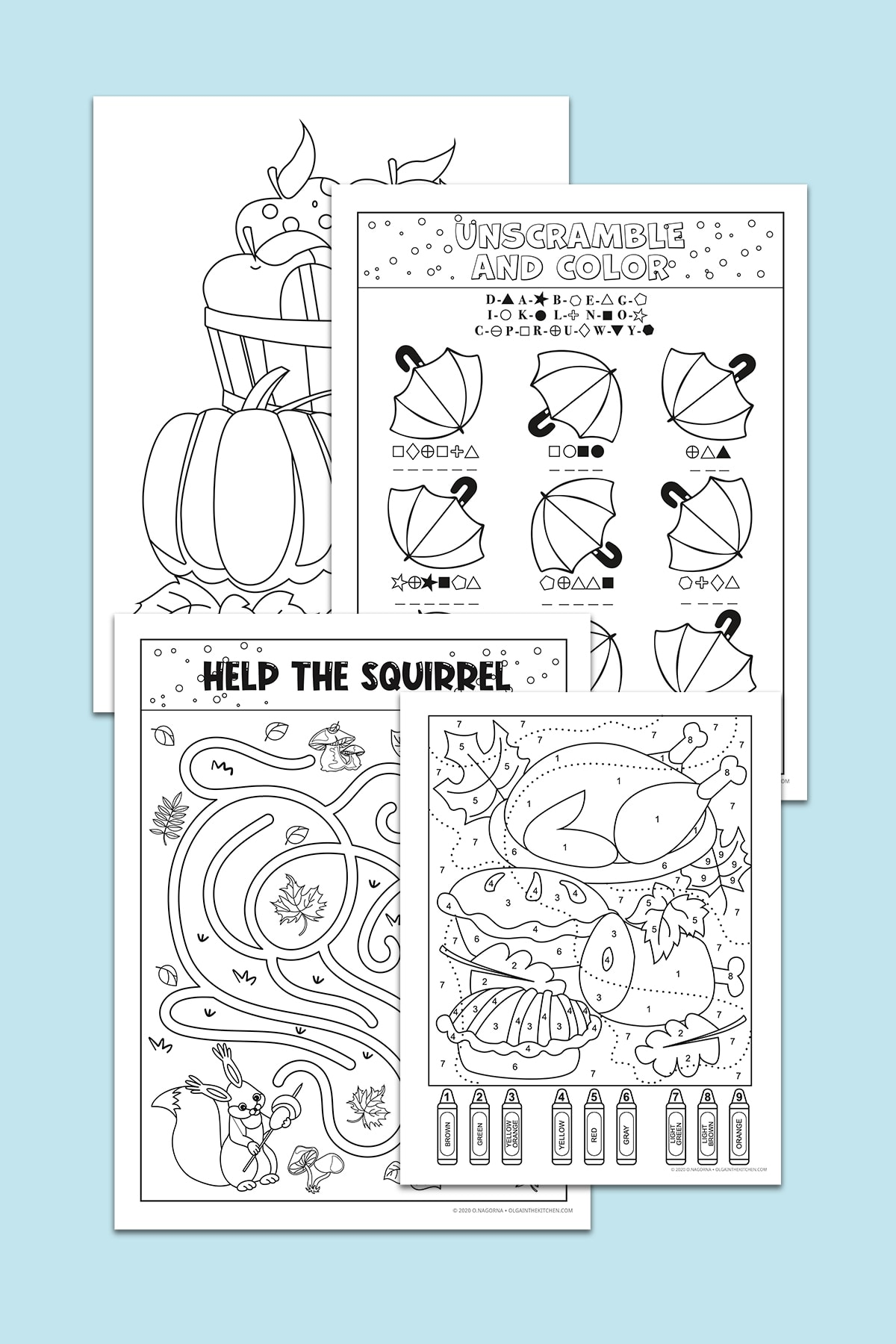 A collection of Free Autumn and Thanksgiving Activities is the perfect family activity to enjoy together around the holidays. Includes fun Thanksgiving and fall coloring pages, an unscramble sheet and maze. #thanksgiving #printables #freebies #olgainthekitchen #homeschool #worksheets #kids