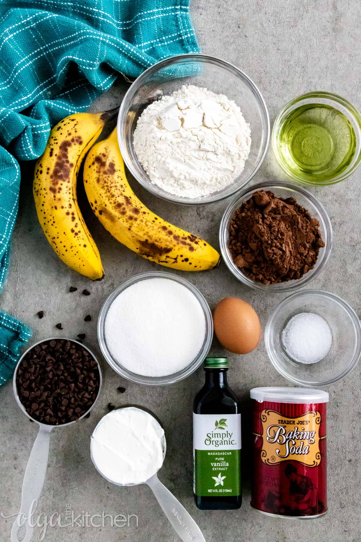 Ingredients for Double Chocolate Banana Muffins.