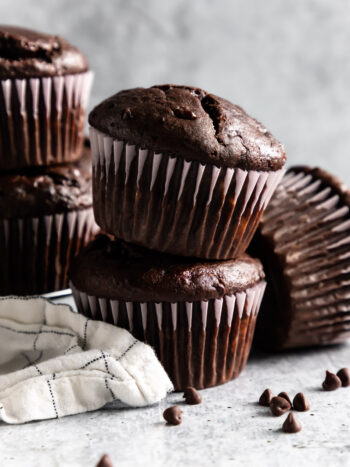 These Double Chocolate Banana Muffins are so easy to make, bursting with rich chocolate flavor and loaded with chocolate chips. They are soft and perfectly moist. You'll forget you're eating breakfast because these muffins taste like true dessert.