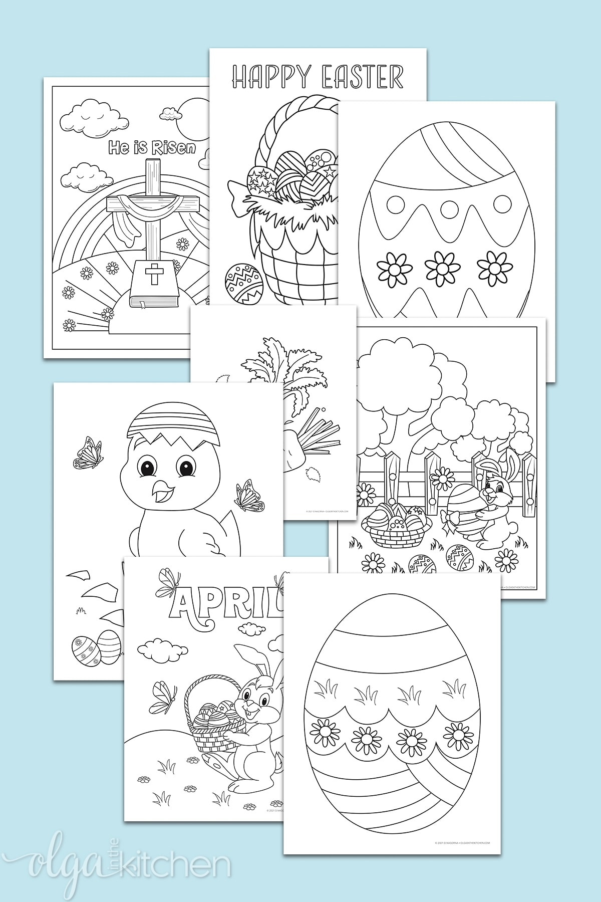 Easter coloring pages including Happy Easter, Easter eggs, He is Risen, Easter bunny and Easter basket.