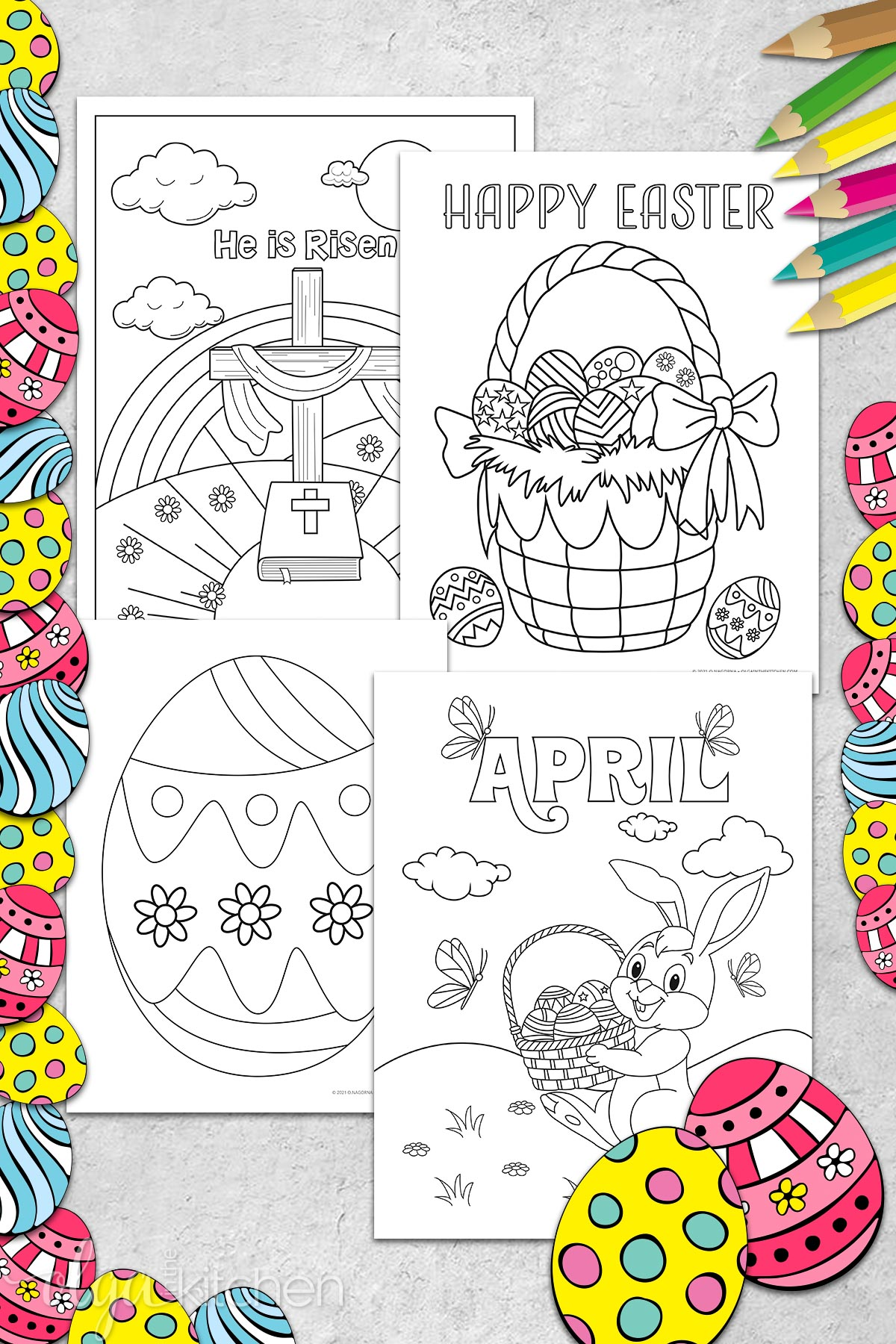 Easter coloring pages for kids and adults in black and white.