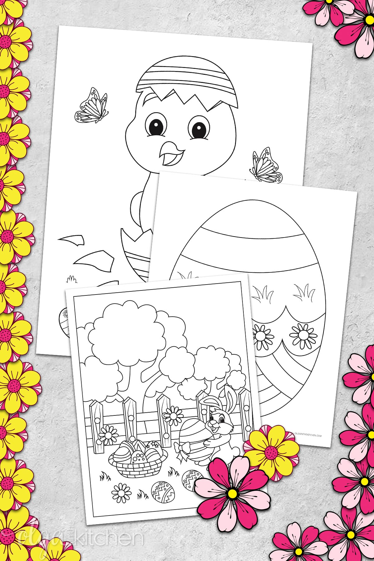 Using Easter coloring pages as crafts for kids.