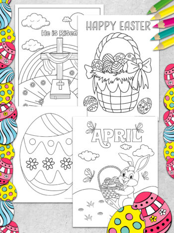 These super fun and FREE Easter Coloring Pages are great for both kids and adults to celebrate the Easter Holiday! Includes He is Risen coloring page, Easter bunny coloring pages, Easter basket coloring page and more free Easter printables.