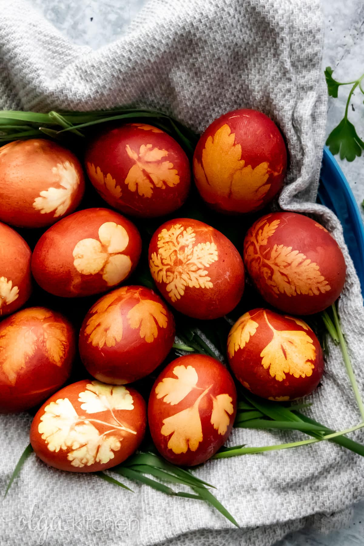How to naturally dye Easter eggs using onion peels.