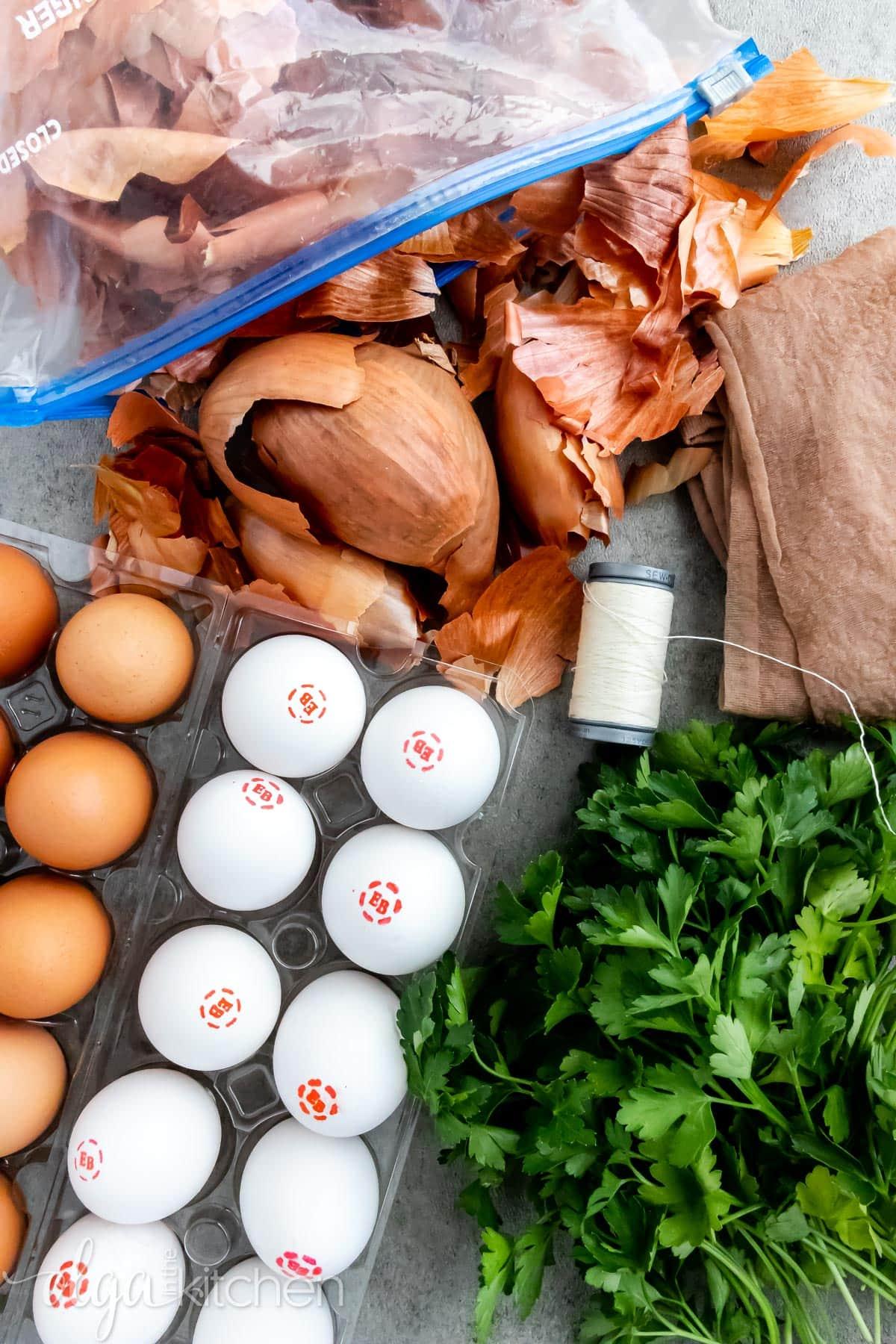Ingredients for natural egg dye.